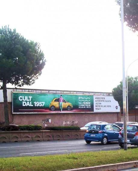 Via Cristoforo Colombo Ex-Fiera Roma pubblicità MAXI FORMATO ILLUMINATO impianto 2380x280cm outdoor per 14 giorni