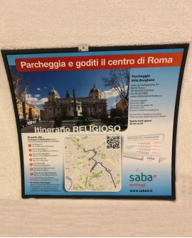 Galleria pedonale Via Veneto pubblicità Cartello 199x190cm indoor per 30 giorni Parcheggio Villa Borghese Roma - SABA